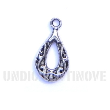ASTRATTO 02 ciondolo argentato gobbia lavorata arabic decorated drop silver charm 1129 22x12mm