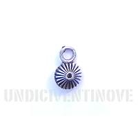 ASTRATTO 03 ciondolo argentato bicono rigato tondo striped round silver charm 1129 12x8mm