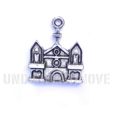 RELIGIONE 012 ciondolo pendente chiesa cristina christian curch silver charm 1129 17x22mm